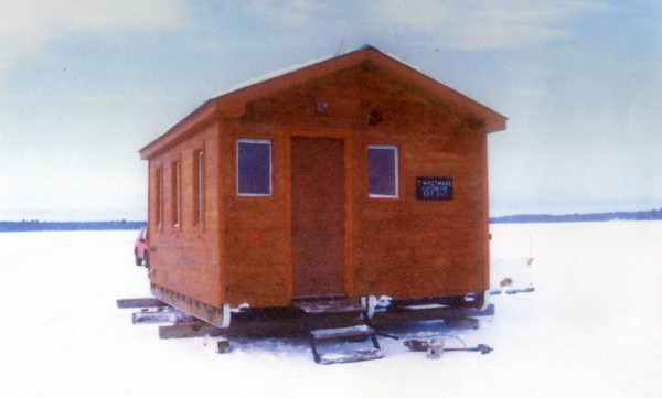 Our ice shack is roomy. It's like a home away from home. It even has a rest room and is powered by a generator.