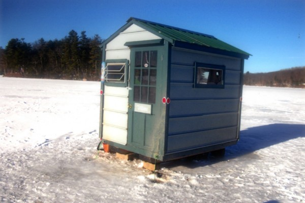 My home away from home is my ice shack that is 6x8 and built sturdy with 1x3's. It took me over three years to build it before it was finally done. I built it once and realized it was way too heavy so I ripped it apart and began to rebuild it. I'm not much of a carpenter but this shack wouldn't show that. It is located on Brewer Lake in Orrington about 300 yards from the landing. I know it's not the biggest or fanciest shack around but it's very practical and also very nice.