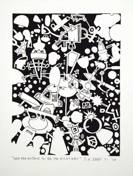 """Dad Pretending to be in the Milky Way,"" a pen-and-ink drawing, is on display at Colby Museum of Art through March 20."