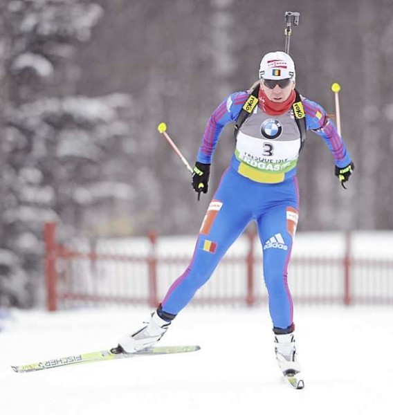 Eva Tofalvi of Romania in women's 7.5 kilometer sprint competition at the I.B.U. World Cup Biathlon at the Nordic Heritage Center Friday afternoon, Feb. 4, 2011.