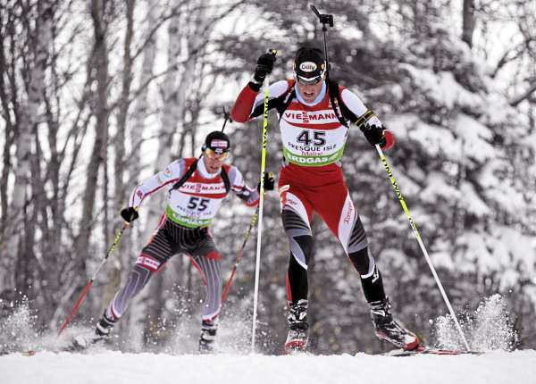 Friedrich Pinter Austria's Friedrich Pinter (45) and Poland's Lucasz Szczurek (55)  cut through the fresh snow as they crest a hill on the 2.5 km loop during I.B.U. World Cup men's 12.5 kilometer pursuit at the Nordic Heritage Center in Presque Isle, Maine on Sunday, Feb. 6, 2011.