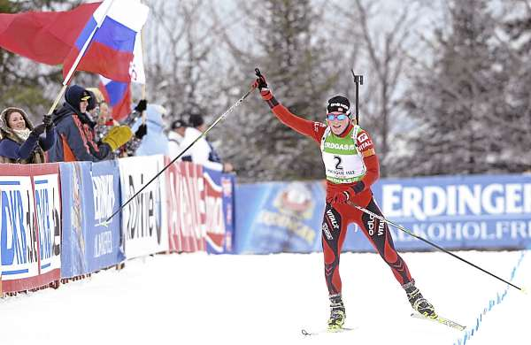 Norway's Tora Berger showed who was number one as she neared the finish line of the I.B.U. World Cup women's 10 kilometer pursuit at the Nordic Heritage Center in Presque Isle, Maine on Sunday, Feb. 6, 2011.