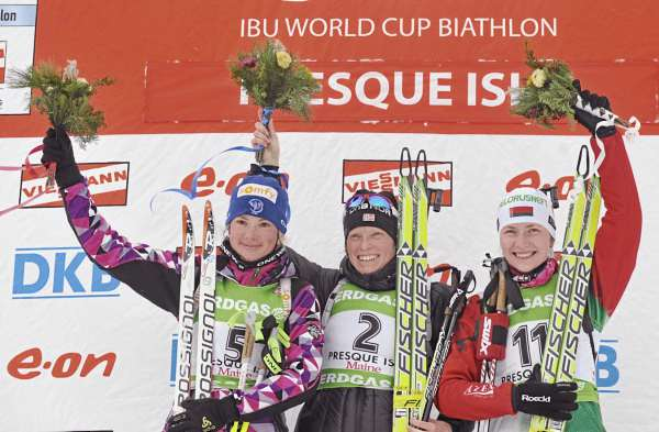 Norway's Tora Berger,center, France's Marie Dorin, left, and Belarus' Darya Domracheva, right, went 1-2-3 in the  I.B.U. World Cup women's 10-kilometer pursuit at the Nordic Heritage Center in Presque Isle, Maine on Sunday, Feb. 6, 2011.