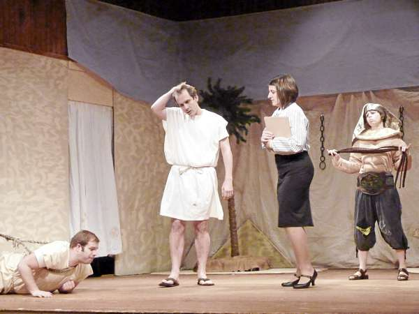 Gavin Pickering (from left) as Benny Bennet, Greg Mihalik as Phil Phil Bennet, Brianne Beck as Louise Goldman and Jenny Hart as the Slave Master star in Ten Bucks Theatre's production of &quotEpic Proportions.&quot