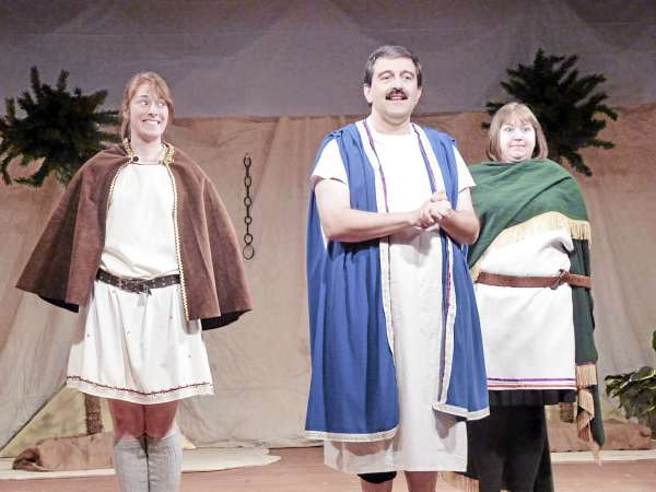 Alexa Steele (from left) as Conspirator, Roland Dube as Wally (playing Octavium), and Katie Toole as Conspirator star in Ten Bucks Theatre's production of &quotEpic Proportions.&quot.