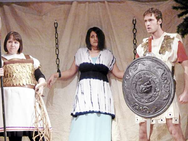 Katie Toole (from left) as Gladiator, Brianne Beck as Louise Goldman (playing Princess Isis), and Nathan Roach as Roman Gladiator appear in Ten Bucks Theatre's production of &quotEpic Proportions.&quot