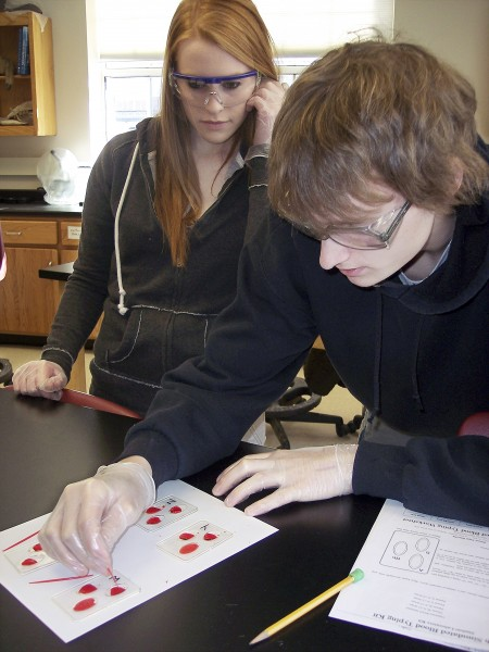 Courtney Fowler (left) of Pittsfield and Kamerin Alspaugh of Burnham look for signs of clotting in simulated blood samples during a laboratory exercise Thursday in the wildlife forensics class at Maine Central Institute in Pittsfield. The exercise taught students how to determine blood types.