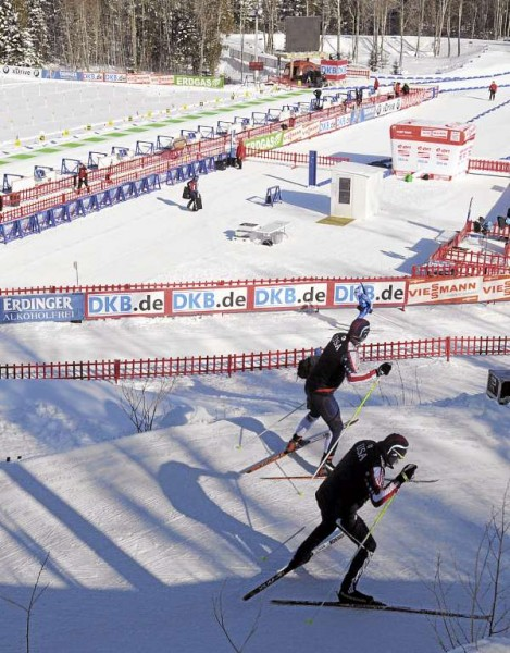 Athletes ski past the start-finish area and shooting range as they warm up before the start of the men's 10K sprint race at the 10th Mountain Ski Center in Fort Kent Thursday morning.