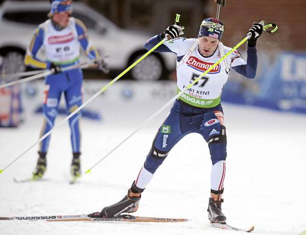 Tim Burke skis from the shooting range during the Men's 10K Sprint race during the World Cup Biathlon at the 10th Mountain Ski Center in Fort Kent Thursday.  Burke who used to train in Maine finished 47th with the time of 27 minutes, 8.3 seconds.