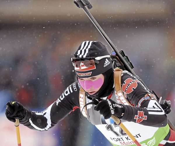 Germany's Andrea Henkel won the Biathlon World Cup women's 7.5K sprint race at the 10th Mountain Ski Center in Fort Kent Friday.  Henkel finished with the time of 23 minutes, 20.0 seconds