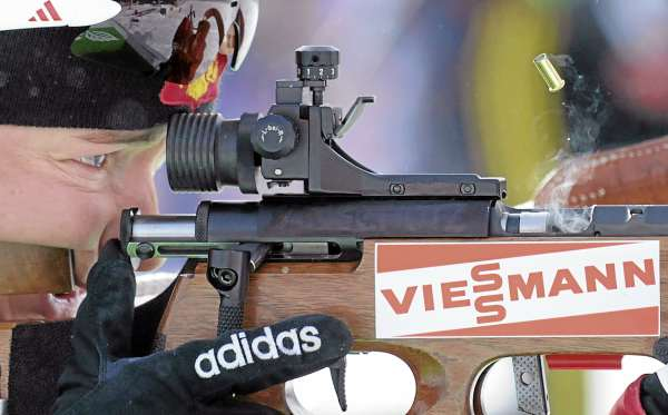 A shell casing ejects from the rifle of Ekaterina Iourieva a as she shoots during the Biathlon World Cup women's 7.5K sprint race at the 10th Mountain Ski Center in Fort Kent Friday.  The Russian competitor finished 29th with the time of 25 minutes, 24.8 seconds.