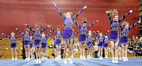 Members of the Hampden Academy cheering squad performed their routine in the Maine High School Class A Cheerleading Competition at the Bangor Auditorium Saturday afternoon, Feb. 12, 2011.