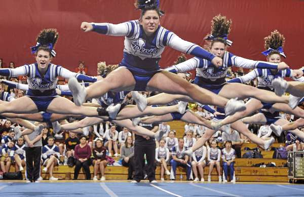 Members of the Lewiston High School cheering squad acheived maximum altitude in the Maine High School Class A Cheerleading Competition at the Bangor Auditorium Saturday afternoon, Feb. 12, 2011. The Lewiston Blue Devils took first place.
