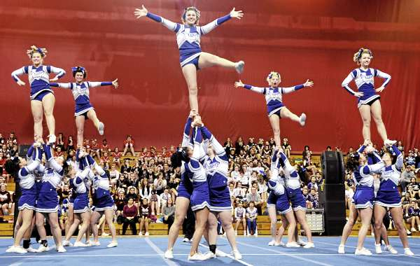 Members of the Lewiston High School cheering squad perform their winning routine in the Maine High School Class A Cheerleading Competition at the Bangor Auditorium Saturday afternoon, Feb. 12, 2011.