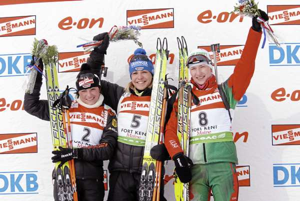 The Germans again dominated the podium at World Cup action in Fort Kent on Sunday, Feb. 13, 2011. Germany's Magdalena Neuner (5) took first place in the women's 12.5-kilometer mass start with teammate Andrea Henkel (2) posting a second place finish. Darya Domracheva of Belarus took third place.