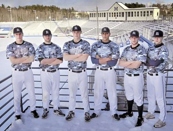 These veteran pitchers will be among the headliners on a talented and deep University of Maine staff this season. The group includes (from left) Keith Bilodeau, Joe Miller, Jeff Gibbs, Jonathan Balentina, A.J. Bazdanes and Steve Perakslis. UMaine opens the season Friday at UNLV.