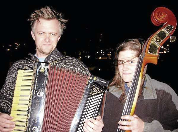 Matt Schreiber and Xar Adelberg of the Balkan folk duo Cinder Conk will play Friday, Feb. 18, 2011, in Rockland.
