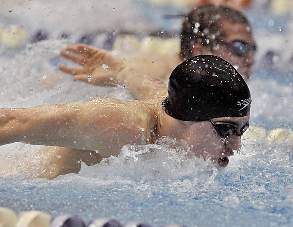 Foxcroft Academy's Cameron Fadley swims the backstroke leg of the 200-yard IM and finished first at Wallace Pool, Monday Feb. 21, 2011.