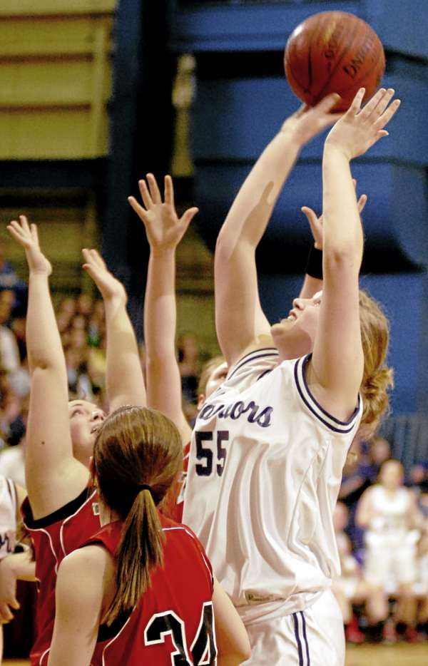 Southern Aroostook's Shelby Hartin takes a shot in first-half action of the girls Class D quarterfinal game at the Bangor Auditorium on Monday February 21, 2011.