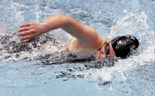 Bangor's Jamie Hunsaker competes in the 200-yard freestyle on Monday, February 27, 2011. Hunsaker won first.