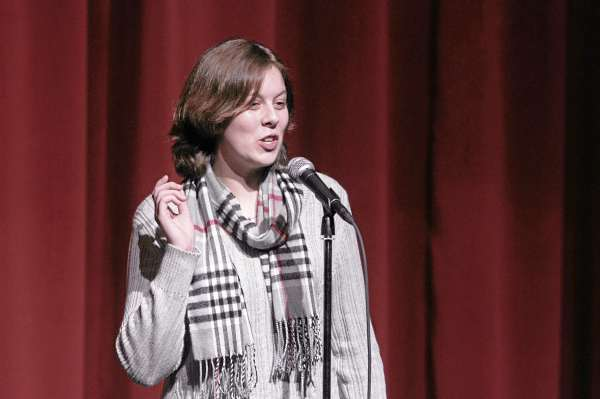 Genevieve Shepard of Searsport District High School recites poetry at the Poetry Out Loud National Recitation Contest in Ellsworth on Thursday, Feb. 17, 2011.