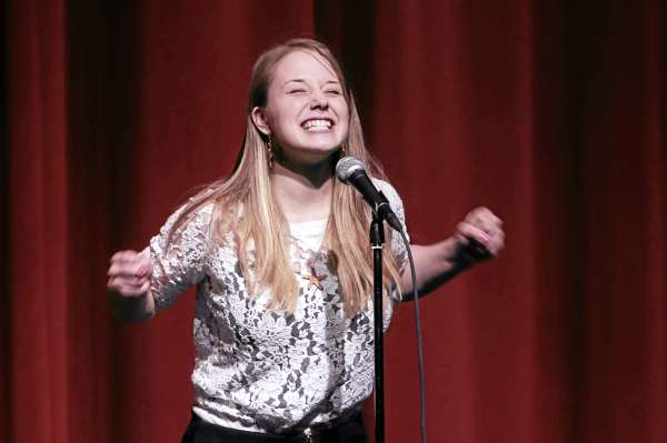 Avalon Langevin of Bucksport High School School recites poetry at the Poetry Out Loud National Recitation Contest in Ellsworth on Thursday, Feb. 17, 2011.