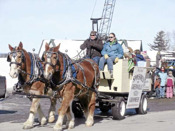 Misty Blue Acres offered free horse-drawn wagon rides Thursday in Greenville as part of Family Fun Day financed by Lauri and John Waitkus, seasonal residents of the region.