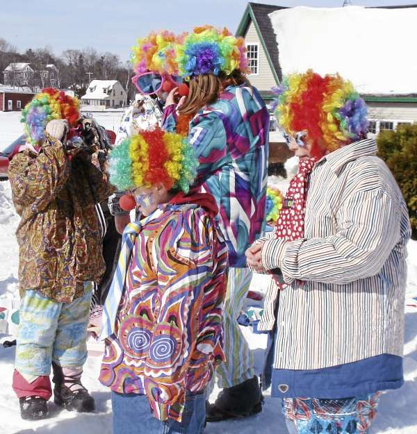 After attending clown school, these children gathered for the parade Thursday at Family Fun Day in Greenville. The entire day, that included fireworks, was funded by Lauri and John Waitkus, seasonal residents of the Moosehead Lake region.