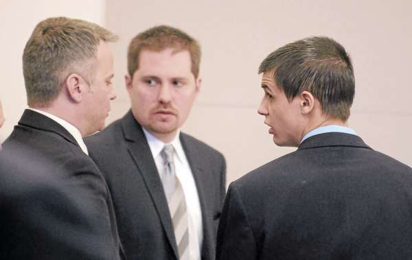Zachary Carr (right) with his attorneys F. David Walker IV (left) and Thomas Matzelivich in the court room during the first day of his trial at the at the Penobscot Judicial Center in Bangor. Carr is accused of the January 2010 shooting death of John &quotBobby&quot Surles.