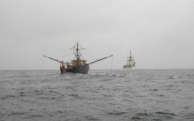 U.S. Coast Guard Cutter Seneca tows the fishing vessel Meridian towards Boston after becoming disabled, Feb. 21, 2011. The Meridian's captain reported the generator was having mechanical issues and lost power to the vessel.