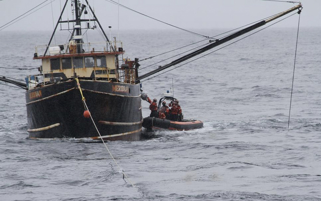 Guard tows disabled shrimp boat