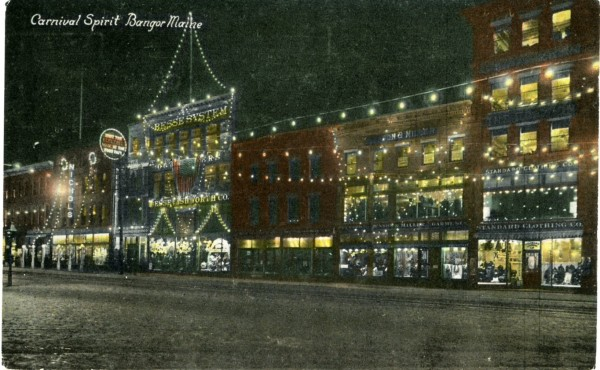 Postmarked 1912, this postcard from the Bangor Public Library shows downtown Bangor lit up in the &quotcarnival spirit,&quot possibly the year before, when this column about the city's Winter Carnival and Food Fair is set.