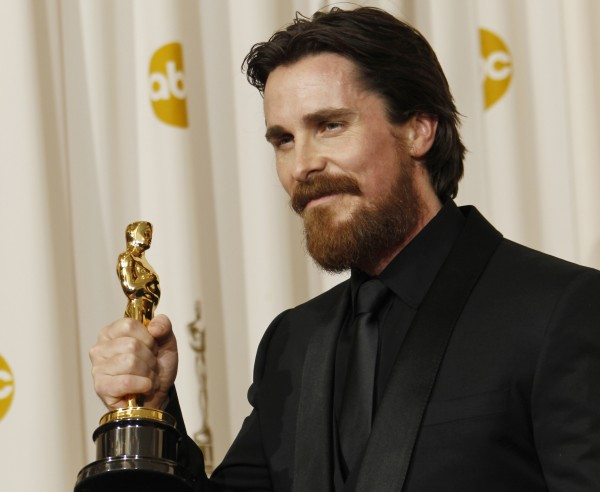 Christian Bale poses backstage with the Oscar for best performance by an actor in a supporting role for &quotThe Fighter&quot at the 83rd Academy Awards on Sunday in the Hollywood section of Los Angeles.