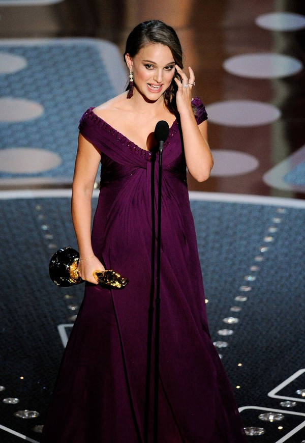 Actress Natalie Portman accepts the award for best actress in &quotThe Black Swan&quot during the 83rd Academy Awards on Sunday, Feb. 27, 2011, in Hollywood.