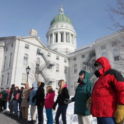 Anti-abortion activists cheer LePage at annual State House rally