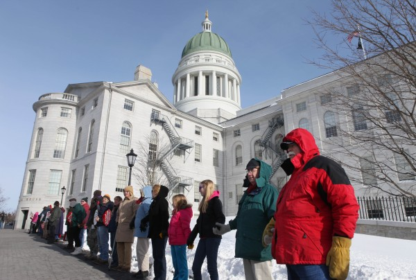 Participants in an annual anti-abortion rally gather outside of the State House on Saturday in Augusta for the &quotHands Around the Capitol&quot rally in January. The Legislature will consider several bills this session that seek to limit access to abortion.