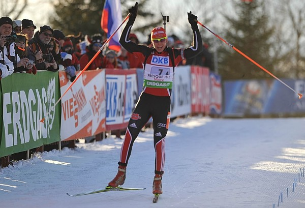 An elated Daniel Bohm gets ready to cross the finish line after anchoring the Germans to a first-place finish in the I.B.U. World Cup mixed relay biathlon competition at the Nordic Heritage Center in Presque Isle, Maine on Saturday afternoon, Feb. 5, 2011.