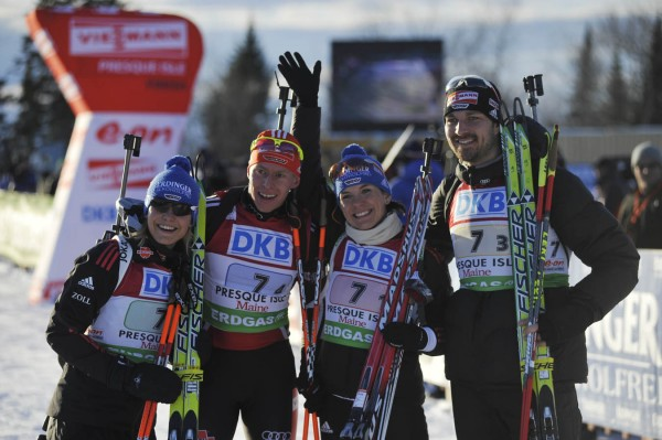 From left: Magdalena Neuner, Daniel Bohm, Kathrin Hitzer and Alexander Wolf of the German team took first place in the  I.B.U. World Cup mixed relay biathlon competition at the Nordic Heritage Center in Presque Isle, Maine on Saturday, Feb. 5, 2011.