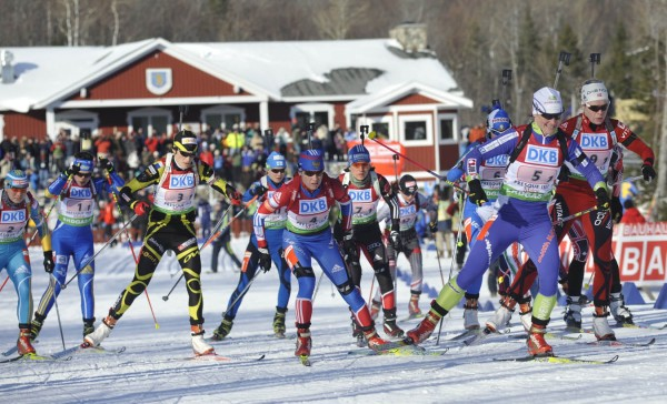 The first -leg women leave the Nordic Heritage Center behind them in the mass start of the  I.B.U. World Cup mixed relay biathlon competition at the Nordic Heritage Center in Presque Isle, Maine on Saturday, Feb. 5, 2011.