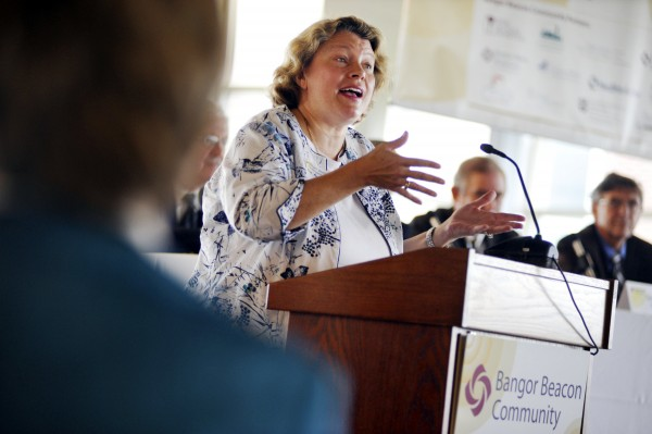 Dr. Dora Ann Mills, director of Maine Center for Disease Control, addresses a gathering of medical professionals during the Bangor Beacon Community launch at the Lafayette Family Cancer Center in Brewer last September.