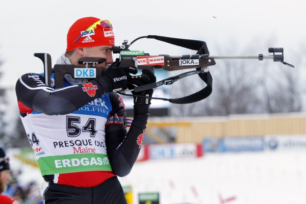 Arnd Peiffer, of Germany, shoots during the men's 10 kilometer sprint at the Biathlon World Cup, Friday, Feb. 4, 2011, in Presque Isle, Maine. Peiffer won the event.