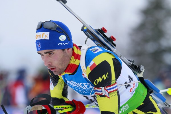 Martin Forcade, of France, skis out of the shooting range on his way to a second place finish in the men's 10 kilometer sprint at the Biathlon World Cup, Friday, Feb. 4, 2011, in Presque Isle.