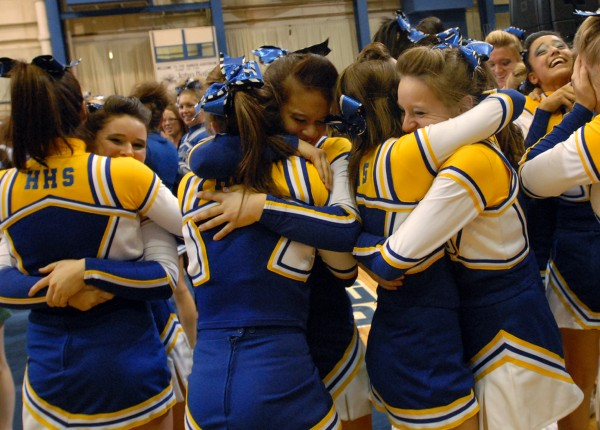 The Hermon Hawks celebrate after winning the 2011 Class B state cheerleading championship at the Bangor Auditorium on Saturday February 12, 2011. (Linda Coan O'Kresik/BDN)