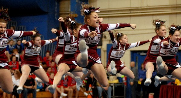 The Ellsworth Eagles perform their routine at the 2011 Class B state cheering competition on Saturday February 12, 2011. Ellsworth placed second. (Linda Coan O'Kresik/BDN)
