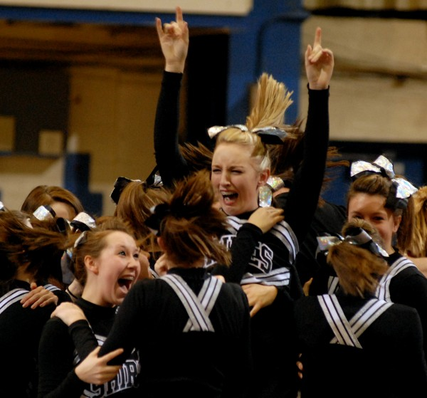 Members of the Houlton Shiretowners celebrate after winning the 2011 Class C state cheering championship at the Bangor Auditorium on Saturday February 12, 2011.