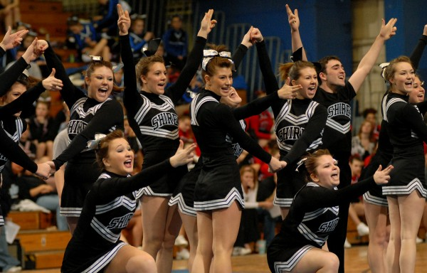 The Houlton Shiretowners perform their routine at the 2011 Class C state cheering championship on Saturday February 12, 2011. Houlton won the Class C state title.