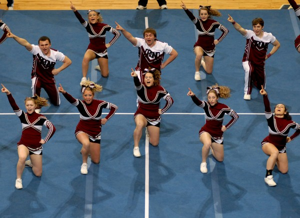 Orono performs its routine at the 2011 Class C state cheering championship on Saturday February 12, 2011. The Red Riots placed second in their class. (Linda Coan O'Kresik/BDN)