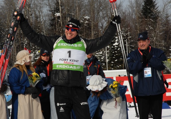 Maine Gov. Paul LePage applauds the first-place finish of Norway's Emil Svendsen in the men's 12.5K pursuit in the World Cup biathlon Saturday in Fort Kent.
