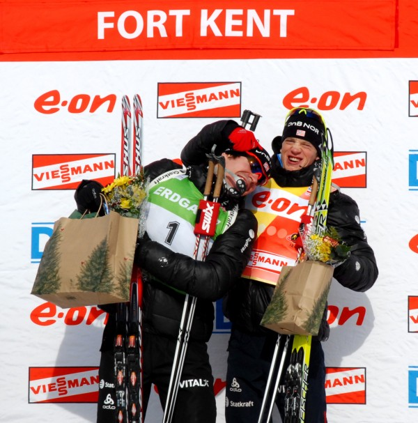 Norway's Tarje Boe (right) clowns around with teammate Emil Svendsen after Svendsen won the men's 12.5K pursuit in the World Cup biathlon Saturday in Fort Kent.