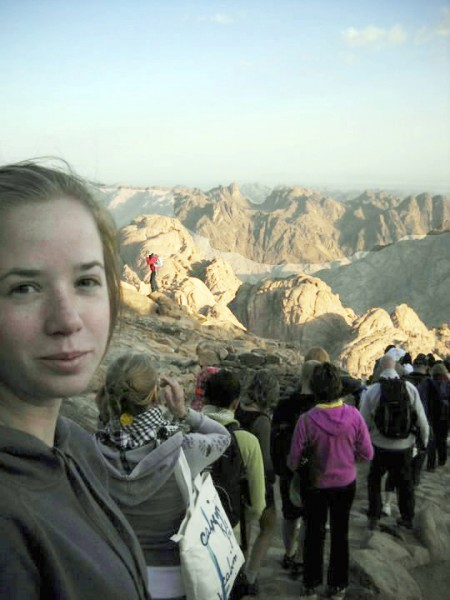 Bangor resident Ellen Umphrey, who is studying at the American University in Cairo, Egypt, is seen on a tour at Mount Sinai in Egypt in October 2010. She is scheduled to leave the country Friday.